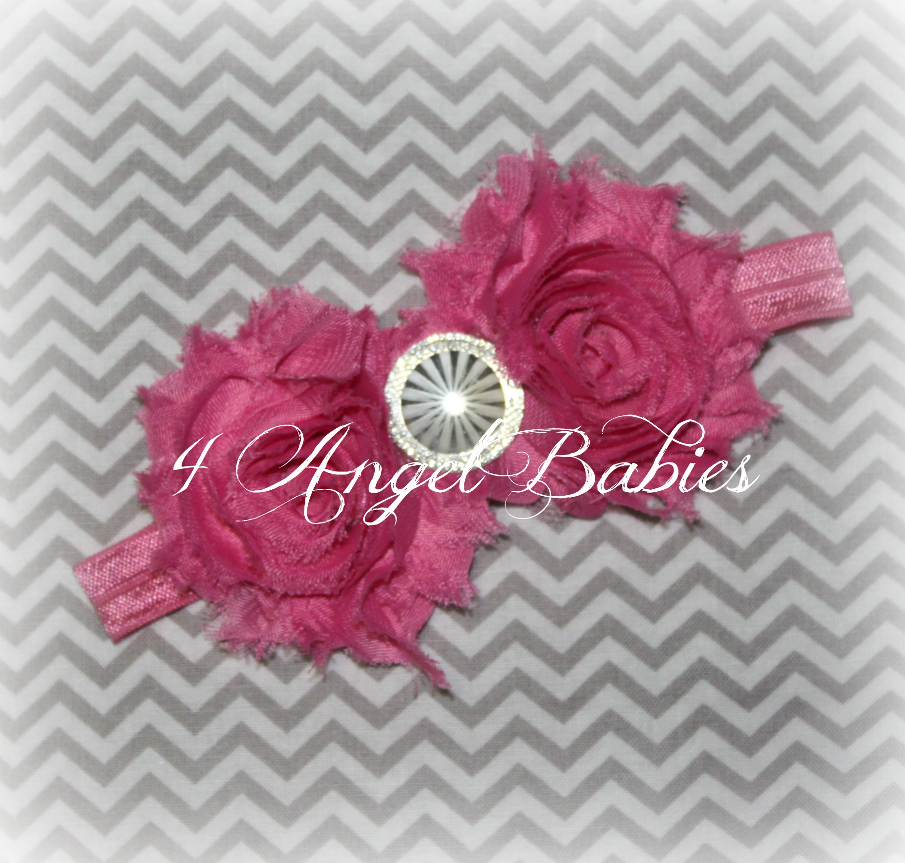 Chiffon Rosette Hot Pink with Rhinestone Newborn Headband