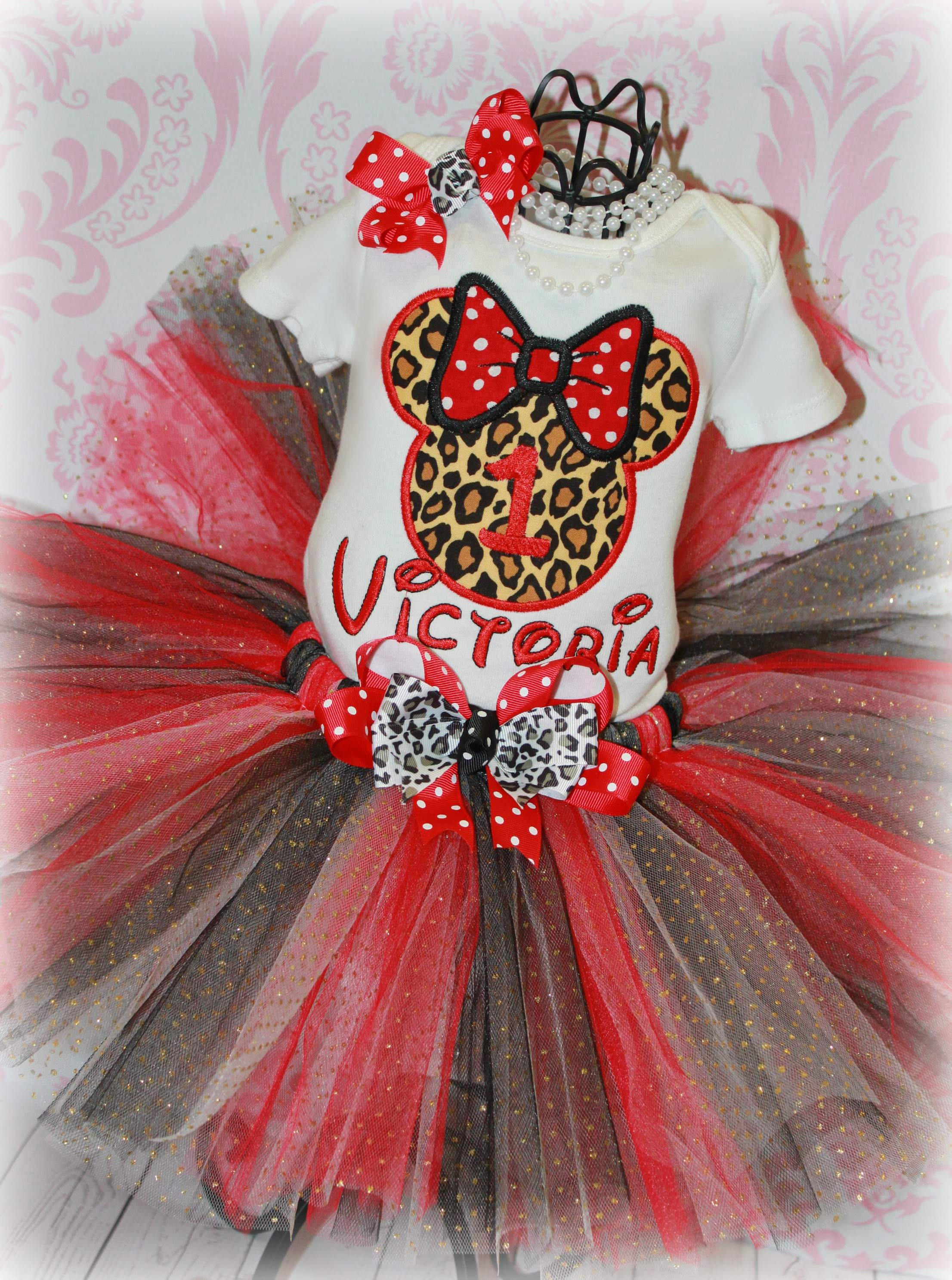 MINNIE MOUSE Red Leopard Cheetah Girls Birthday Tutu Outfit