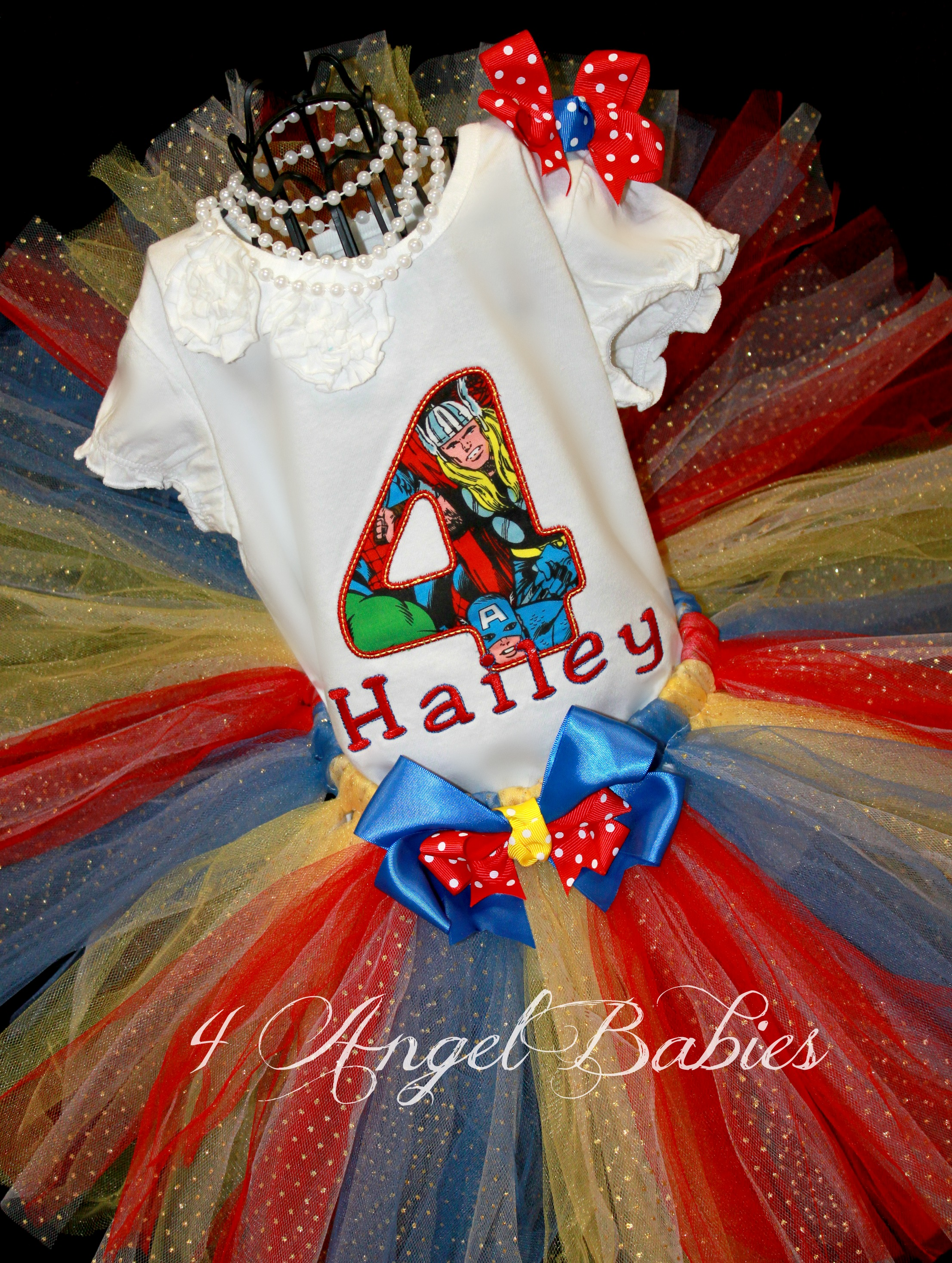 AVENGERS Girls Birthday Tutu Outfit Pick Thor, Hulk, Spiderman - Click Image to Close