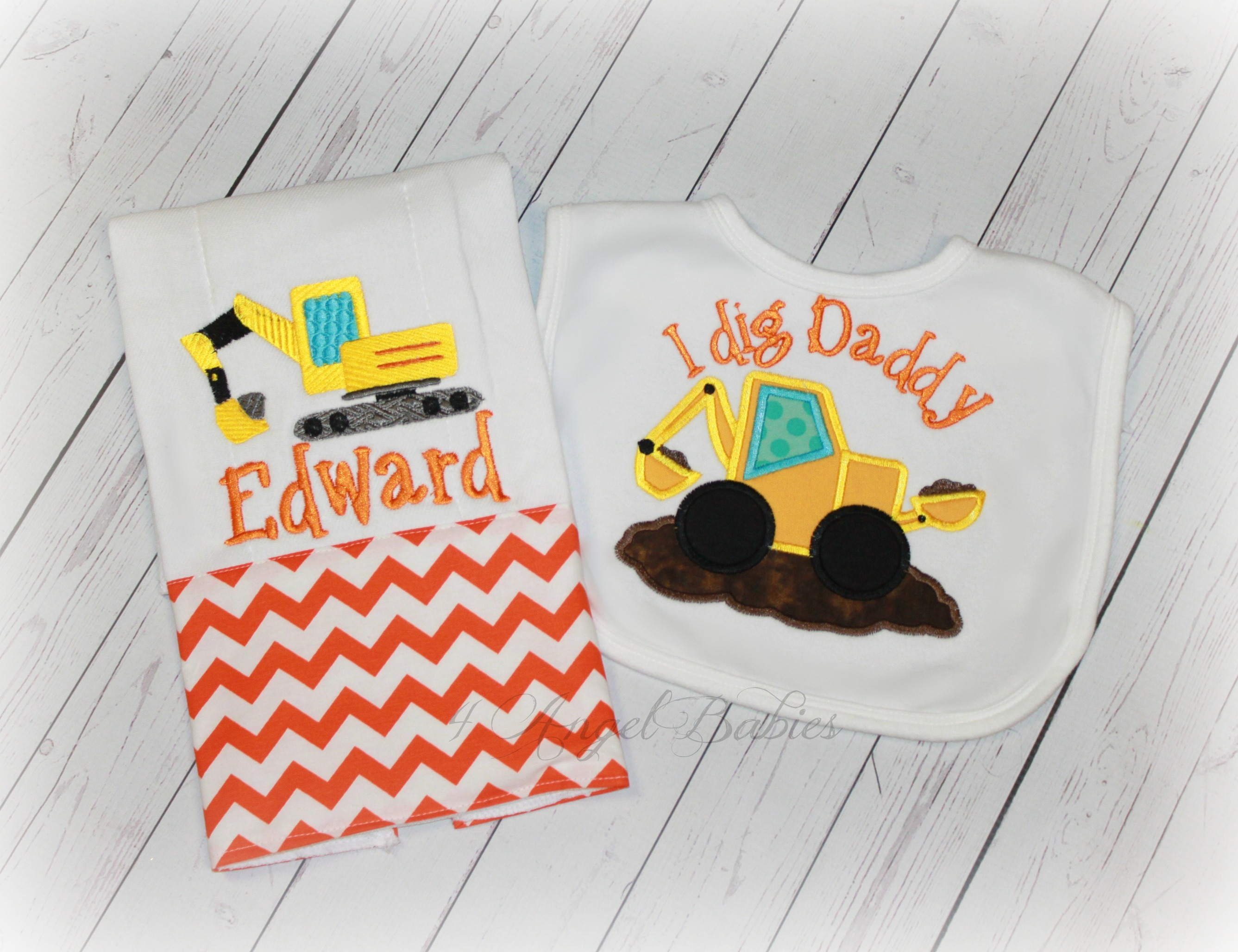 Construction Backhoe Boys Orange Chevron Bib and Burp Cloth Set