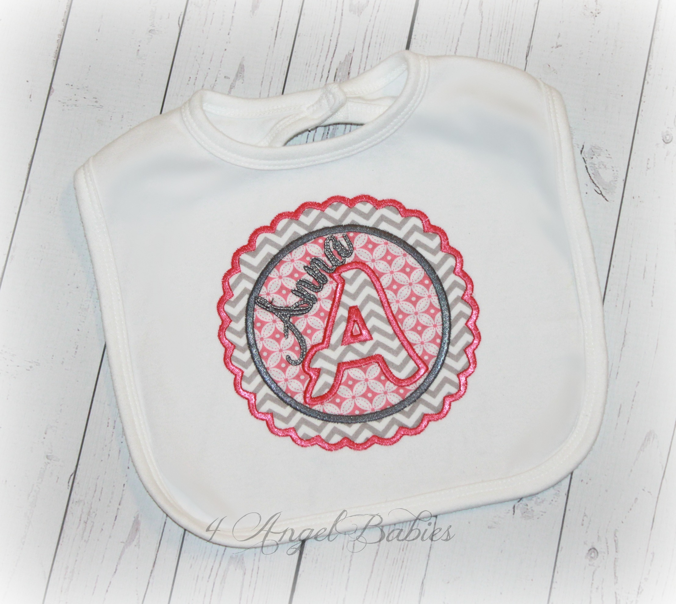 Personalized Monogram Applique Girls Pink & Silver Patch Bib