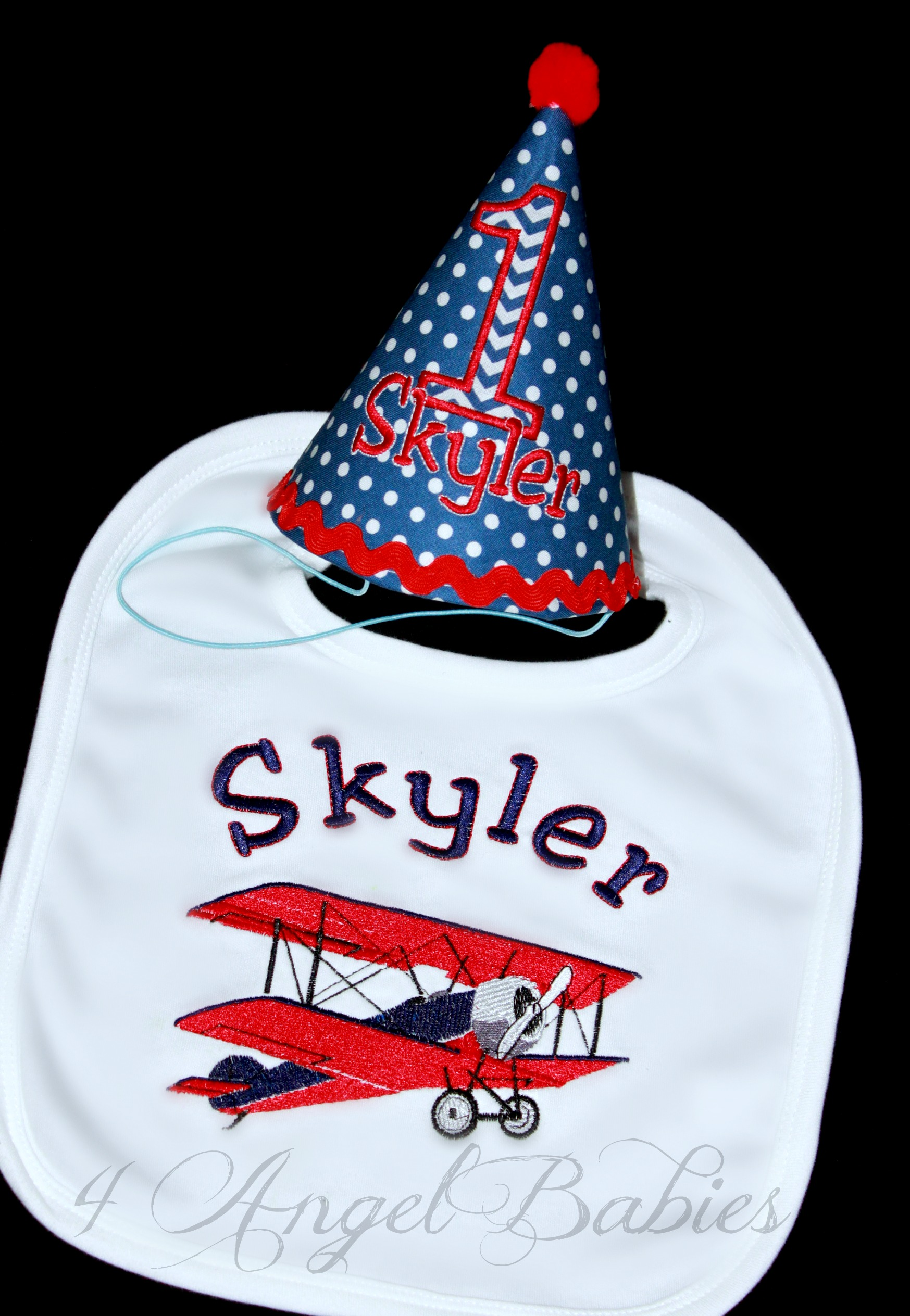 BIPLANE Vintage Airplane Boys Birthday Hat and Bib Set Red, Blue