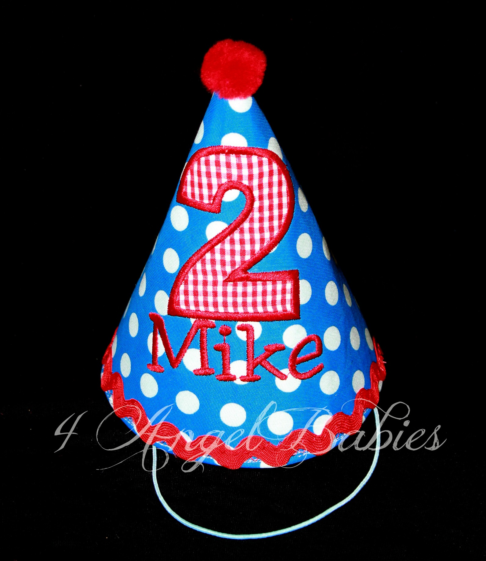 Royal Blue Dot and Red Gingham Birthday Hat for Elmo or Airplane