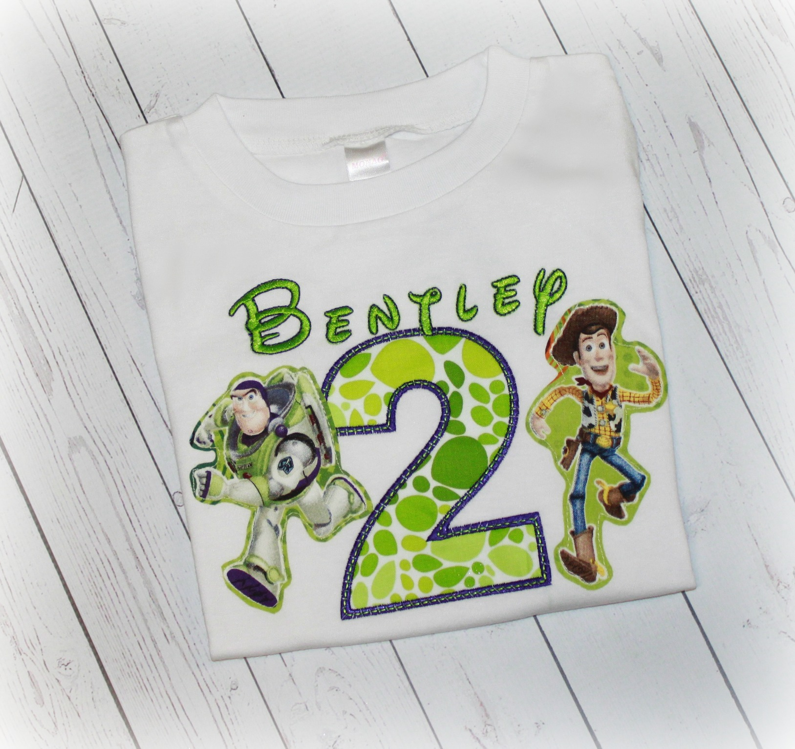 Buzz & Woody Toy Story Boys Green Multi Dot Birthday Shirt Top