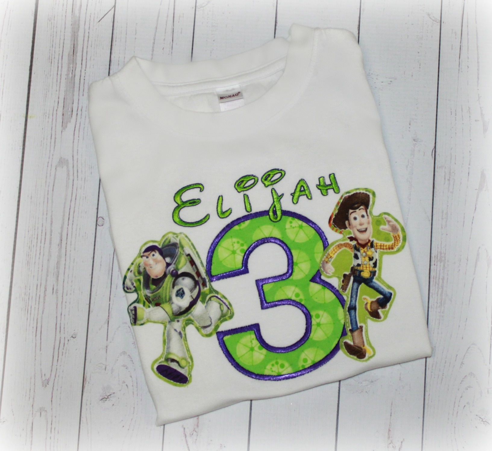 Buzz & Woody Toy Story Boys Lime Dot Birthday Shirt or Top