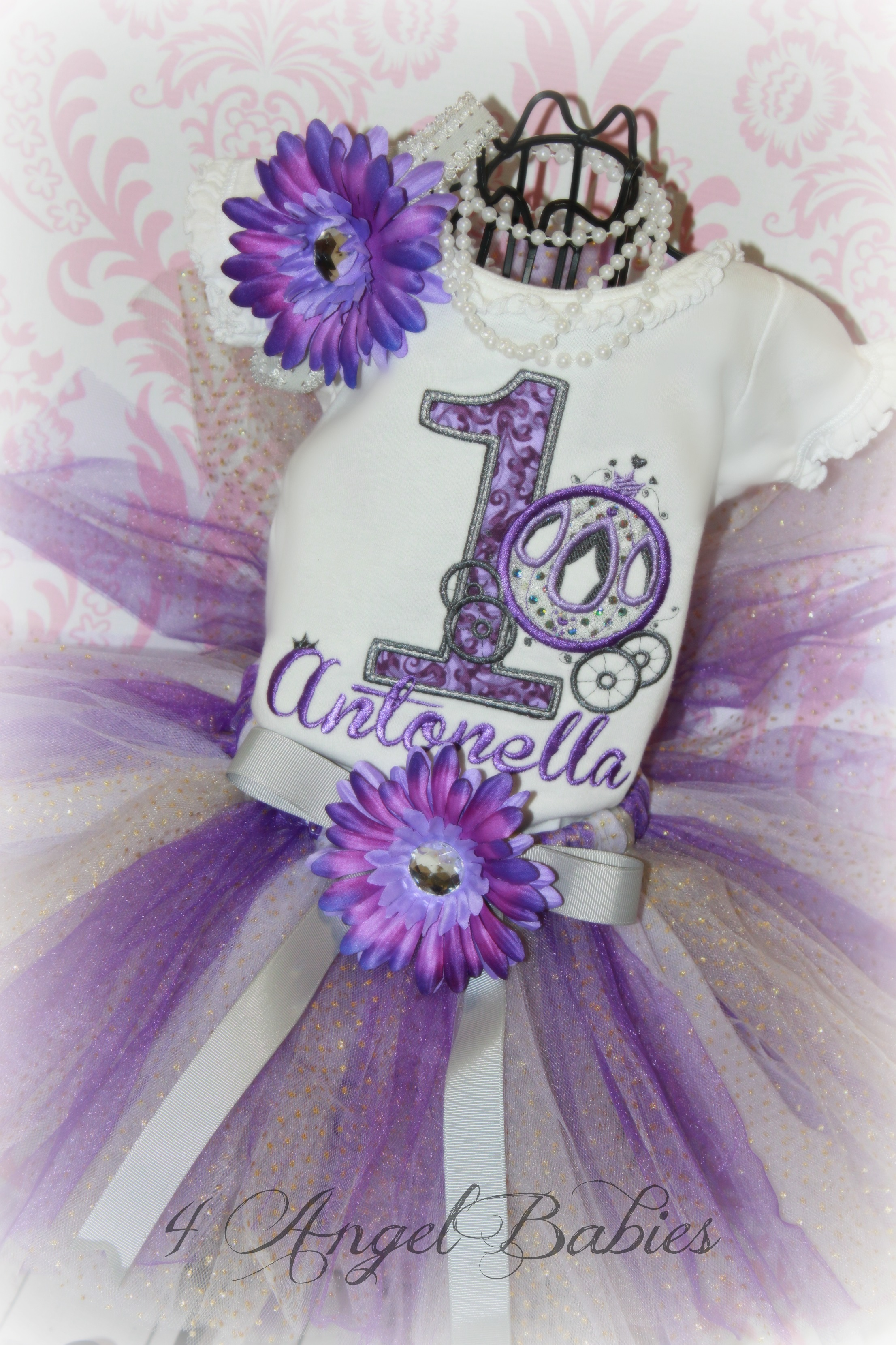 Princess Carriage Girls Purple & Silver Birthday Tutu Outfit