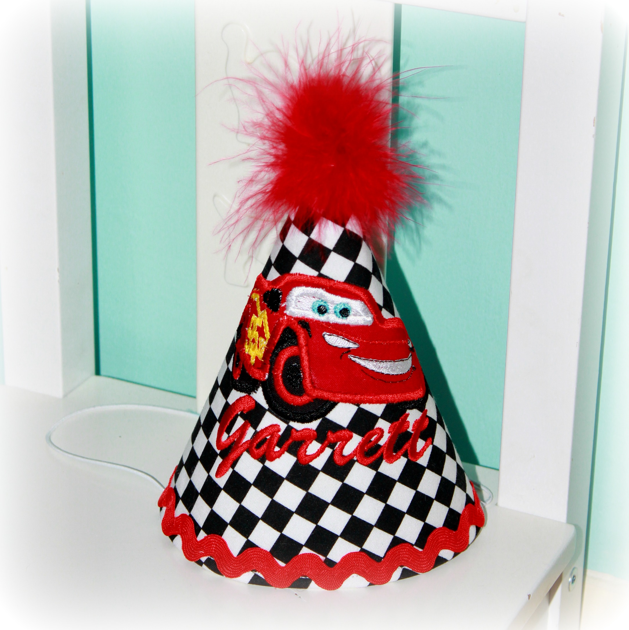 CARS Lightning McQueen or Mater Checkered Flag Birthday Hat