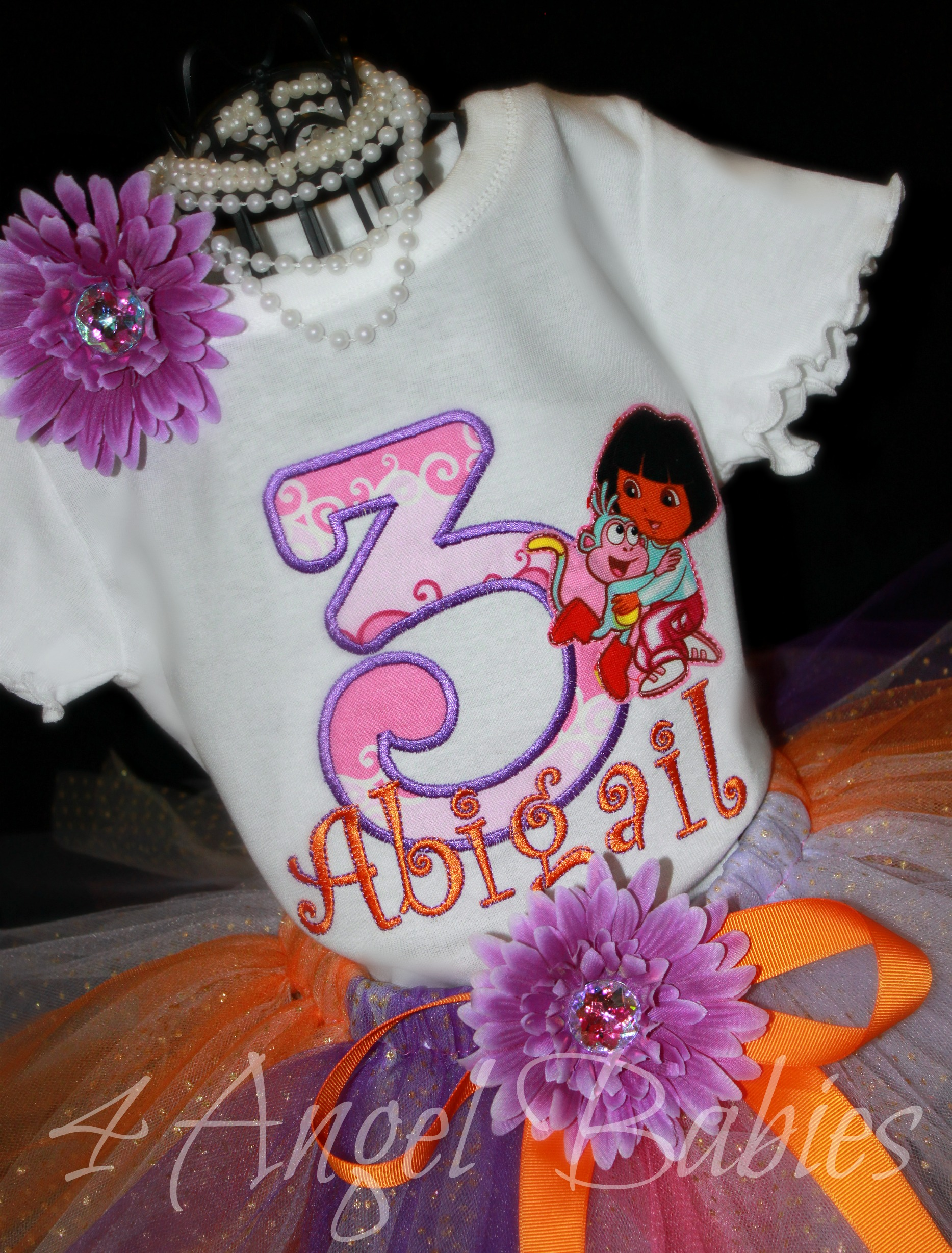 Dora the Explorer Personalized Top with Number or Letter