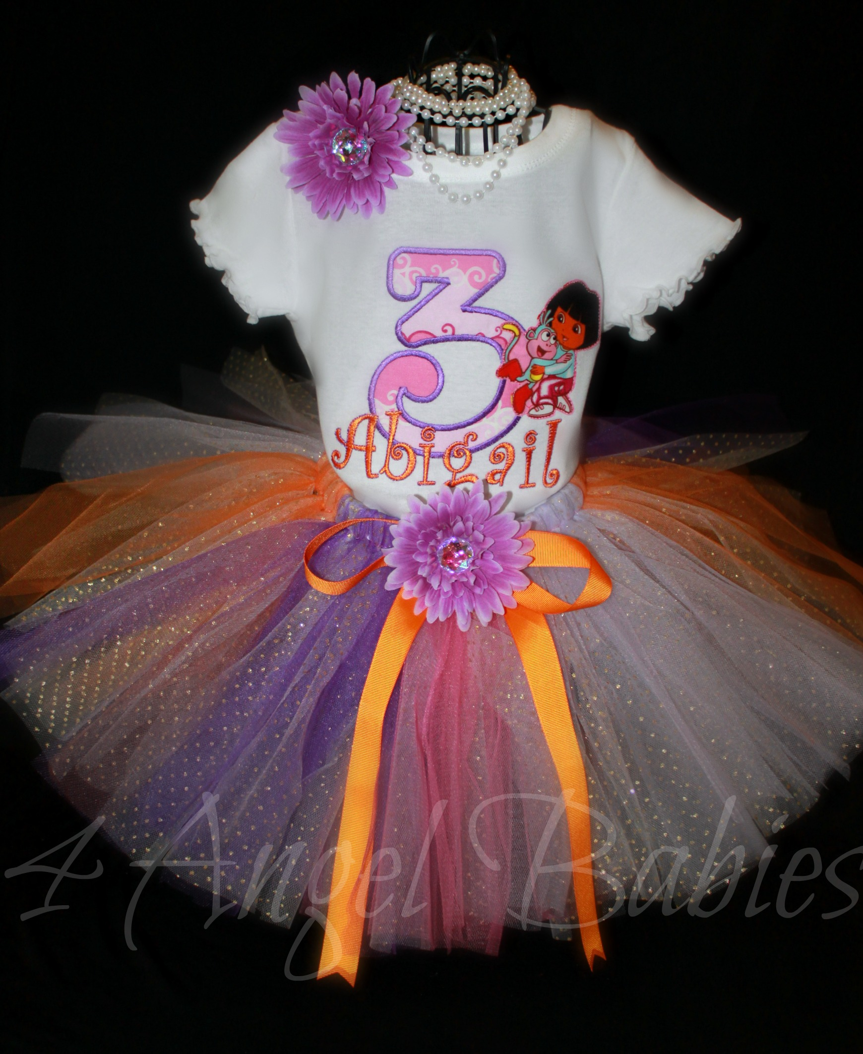 Dora the Explorer Girls Birthday Tutu Outfit Pink, Purple, Orang