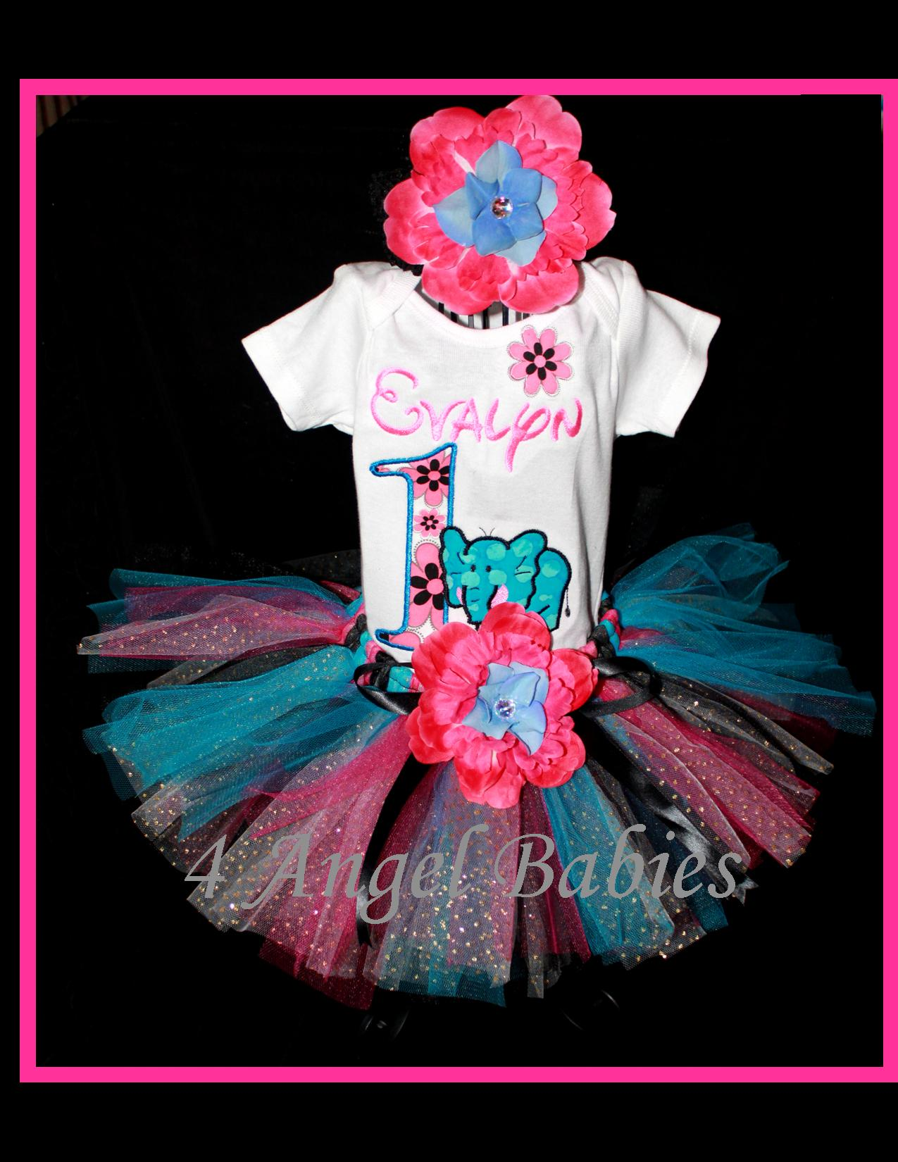 Elephant Hot Pink, Black & Turquoise Girls Birthday Tutu Outfit