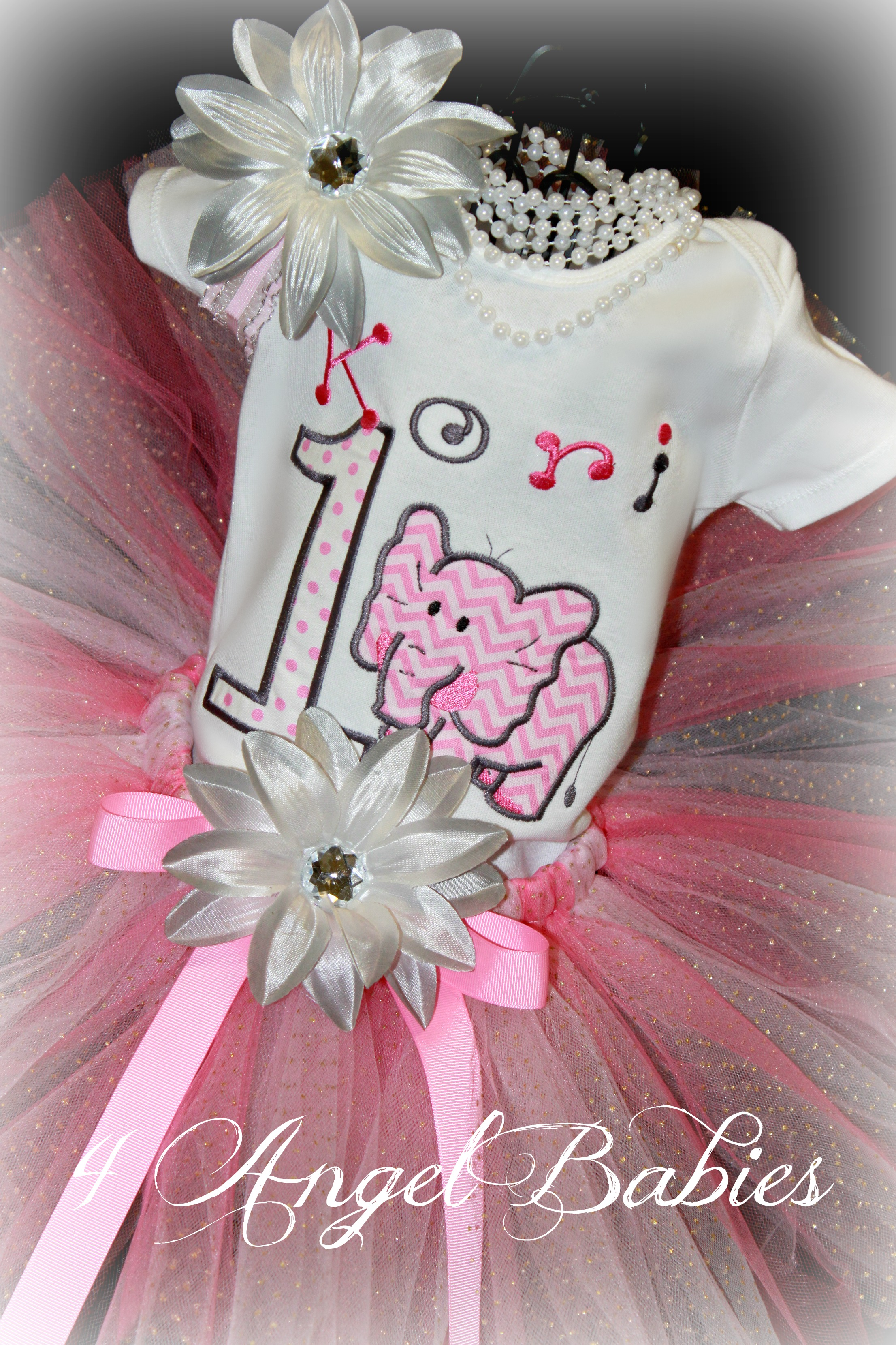 Elephant w/ Silver & Pink Chevron Girls Custom Birthday Top