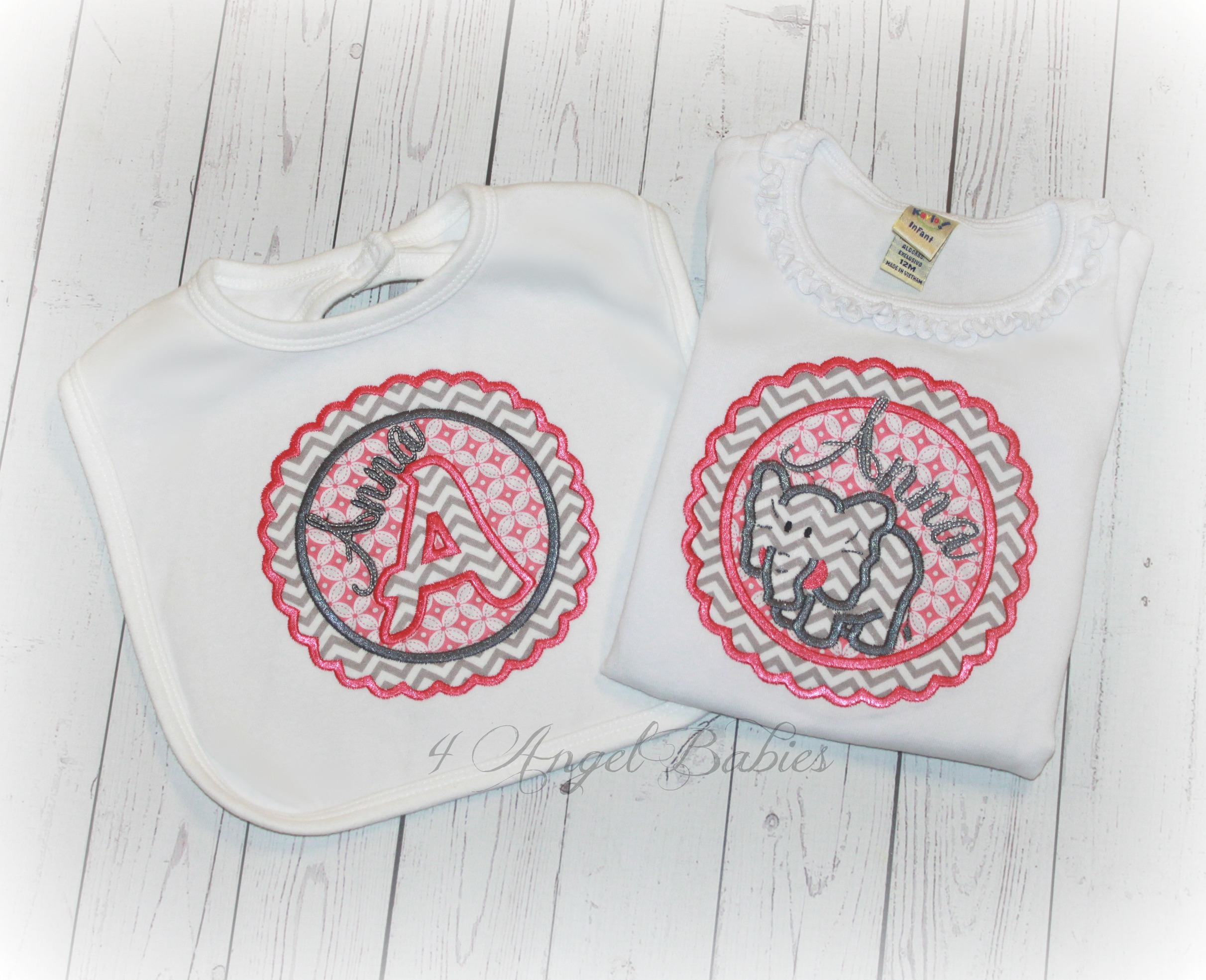 Pink & Gray Elephant Chevron Girls Baby Gift Set Top & Bib