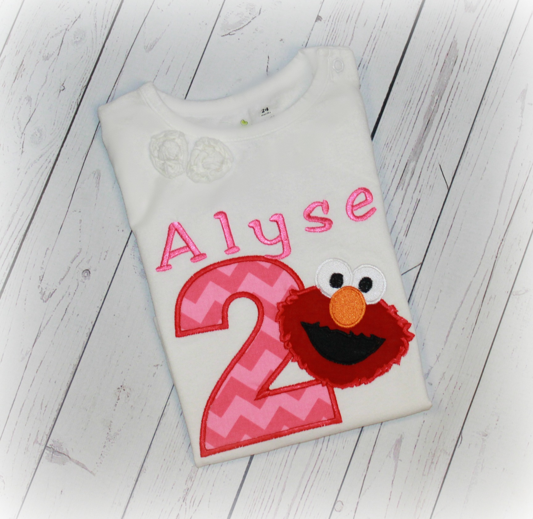 Elmo Inspired Pink Chevron Custom Girls Birthday Shirt or Top