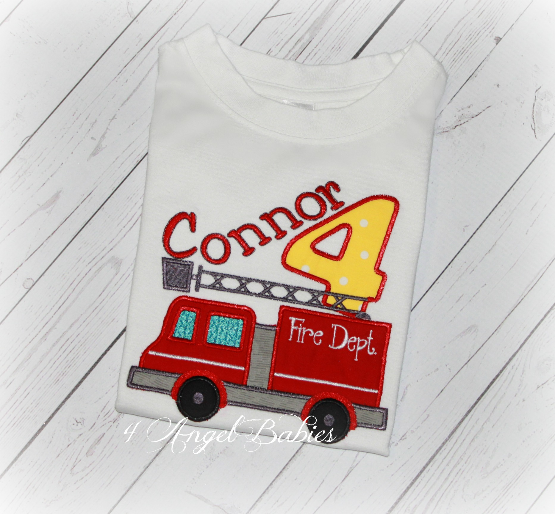 Fire Truck Red & Yellow Personalized Engine Birthday Shirt Top