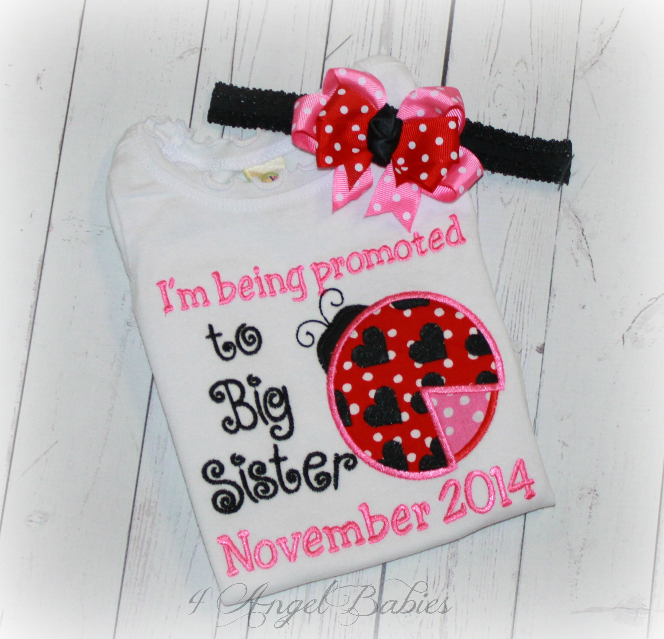 LADYBUG Girls Birth Announcement Personalized Top Red & Pink