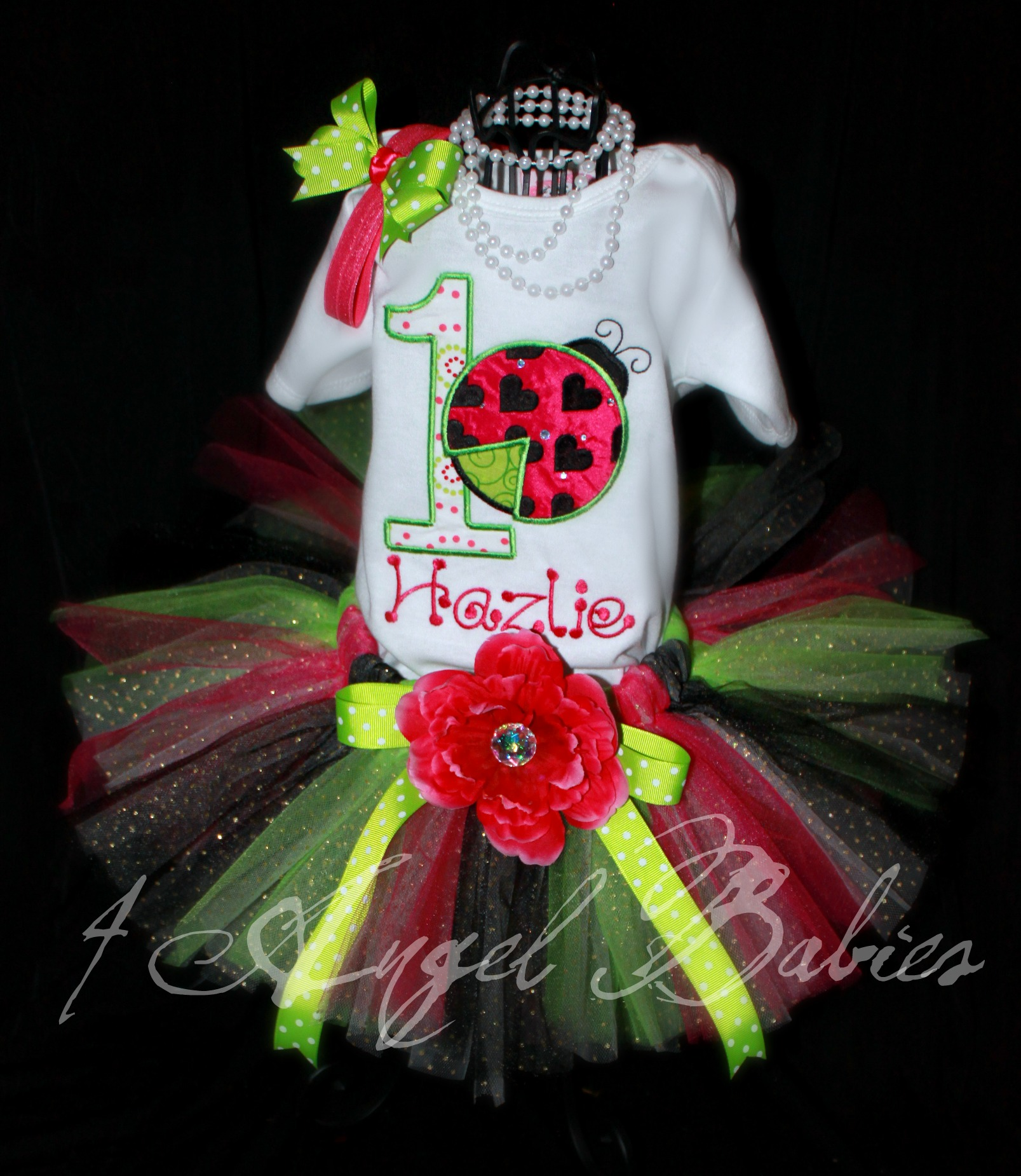 Lime Green, Black, & Hot Pink Glitter Tutu