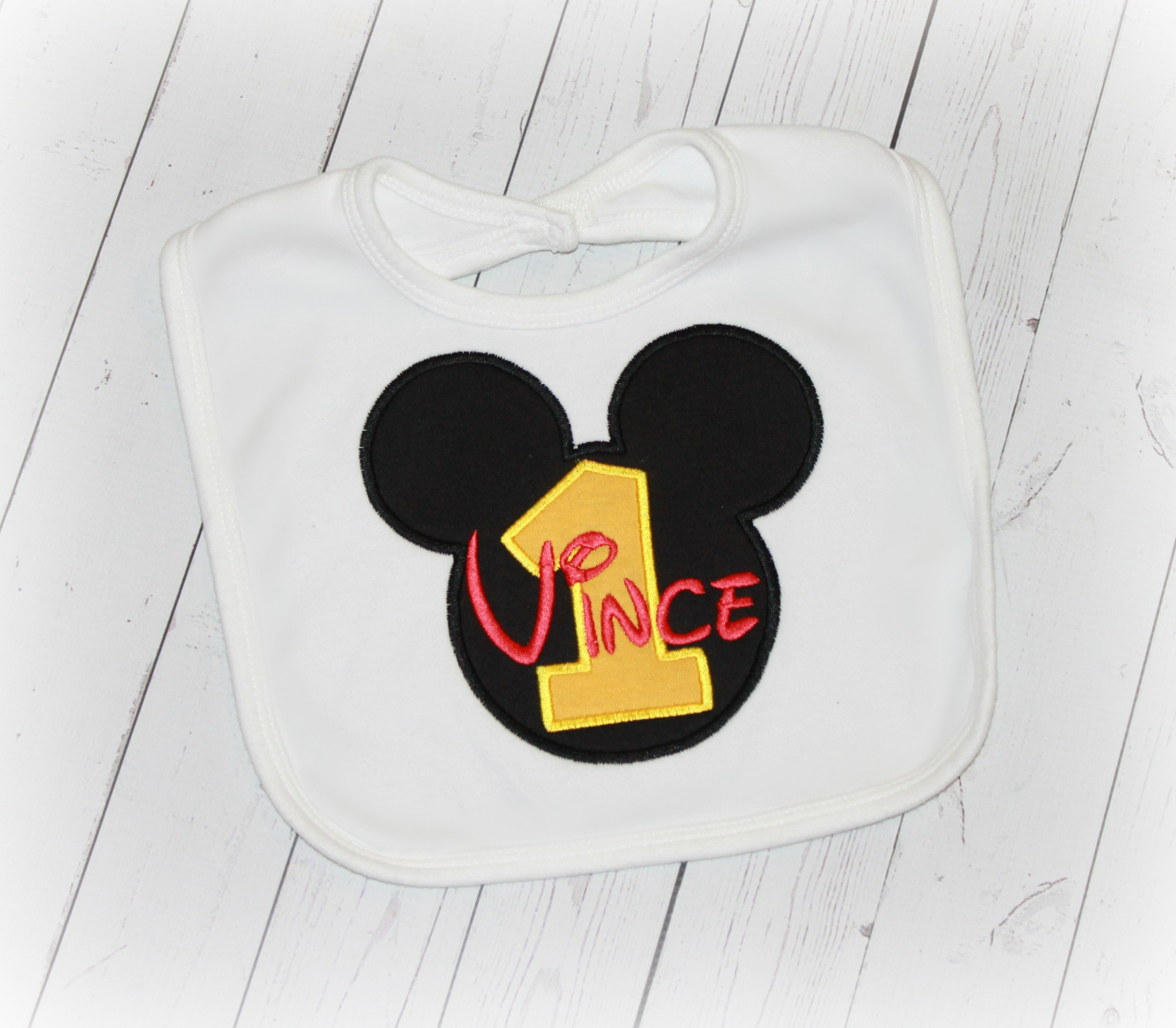 Micky Mouse Clubhouse Boys or Girls Birthday Bib Red & Yellow