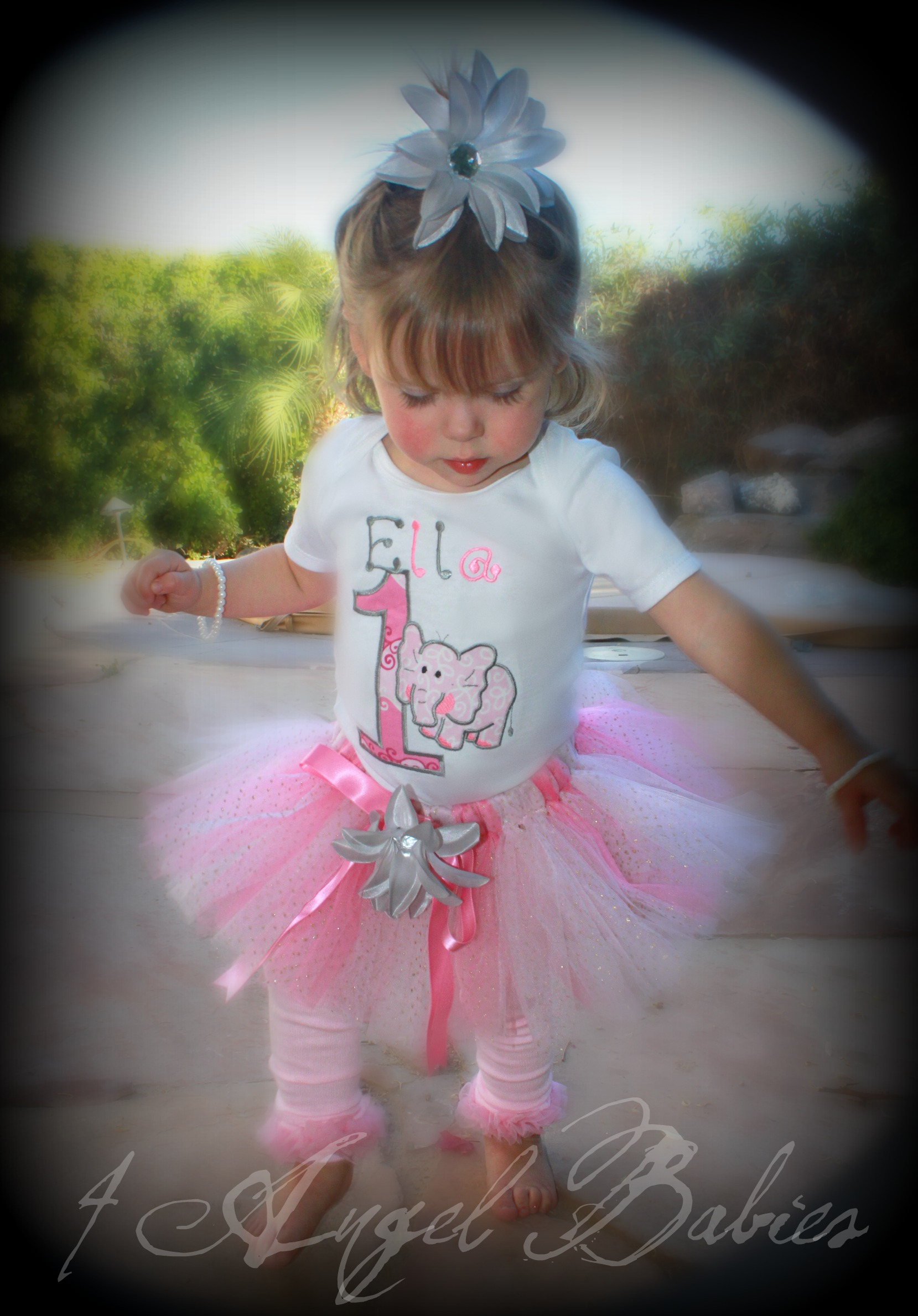 Pink & Silver Elephant Girls Birthday Tutu Outfit 3 Piece