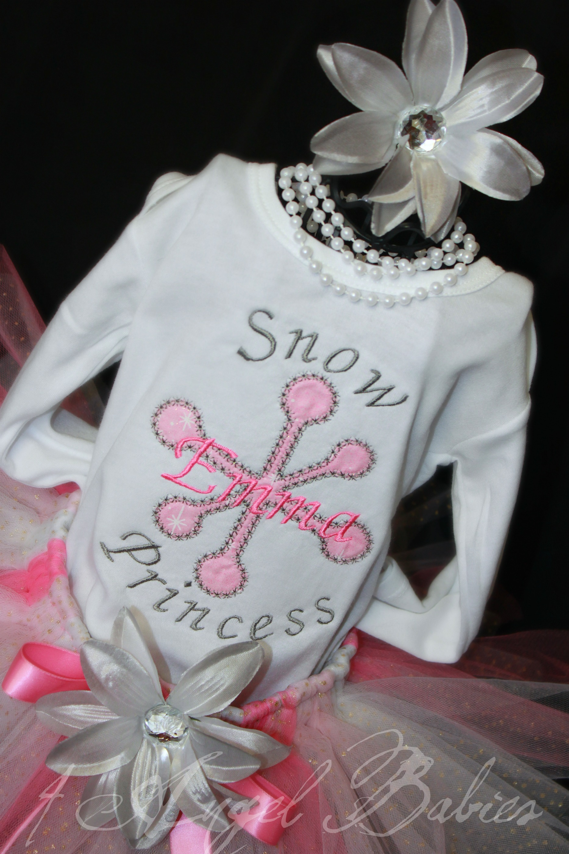 Pink & Silver Snowflake Girls Birthday Glitter Tutu Outfit