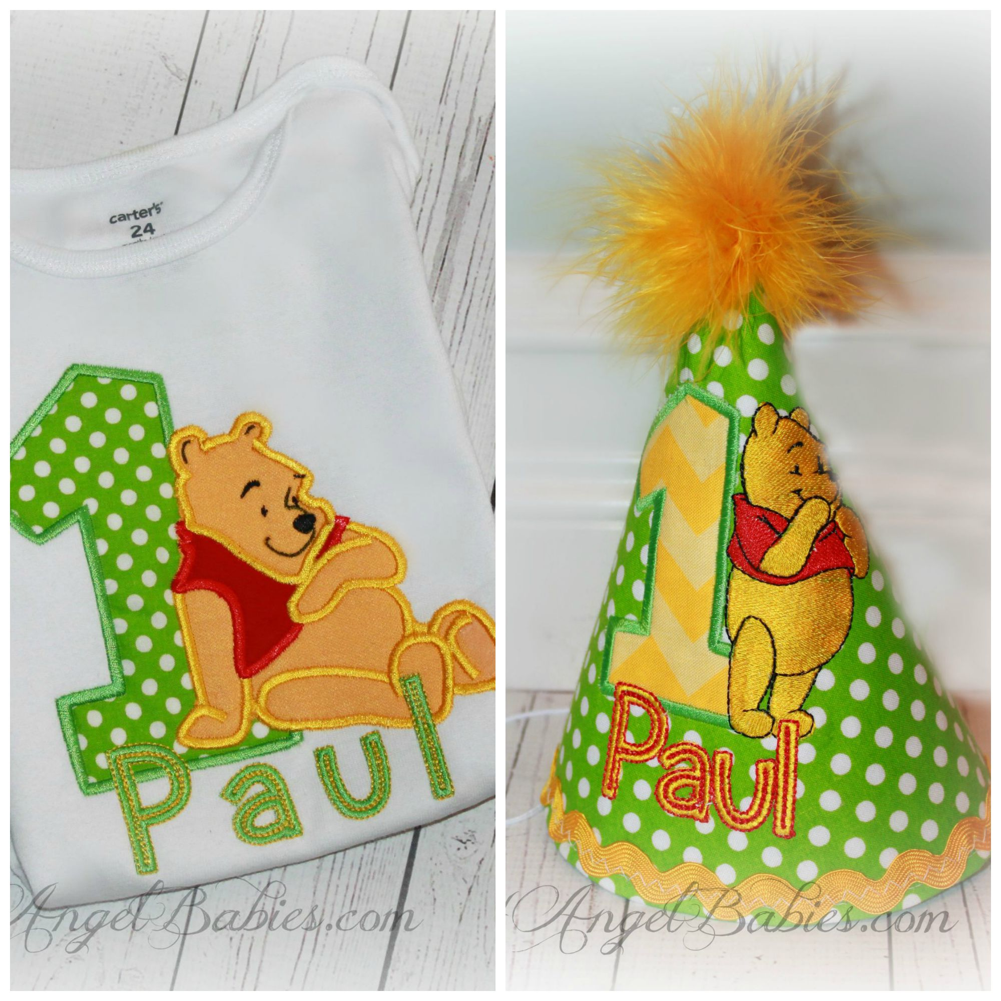Winnie the Pooh Lime Green Dot Boys or Girls Birthday Hat
