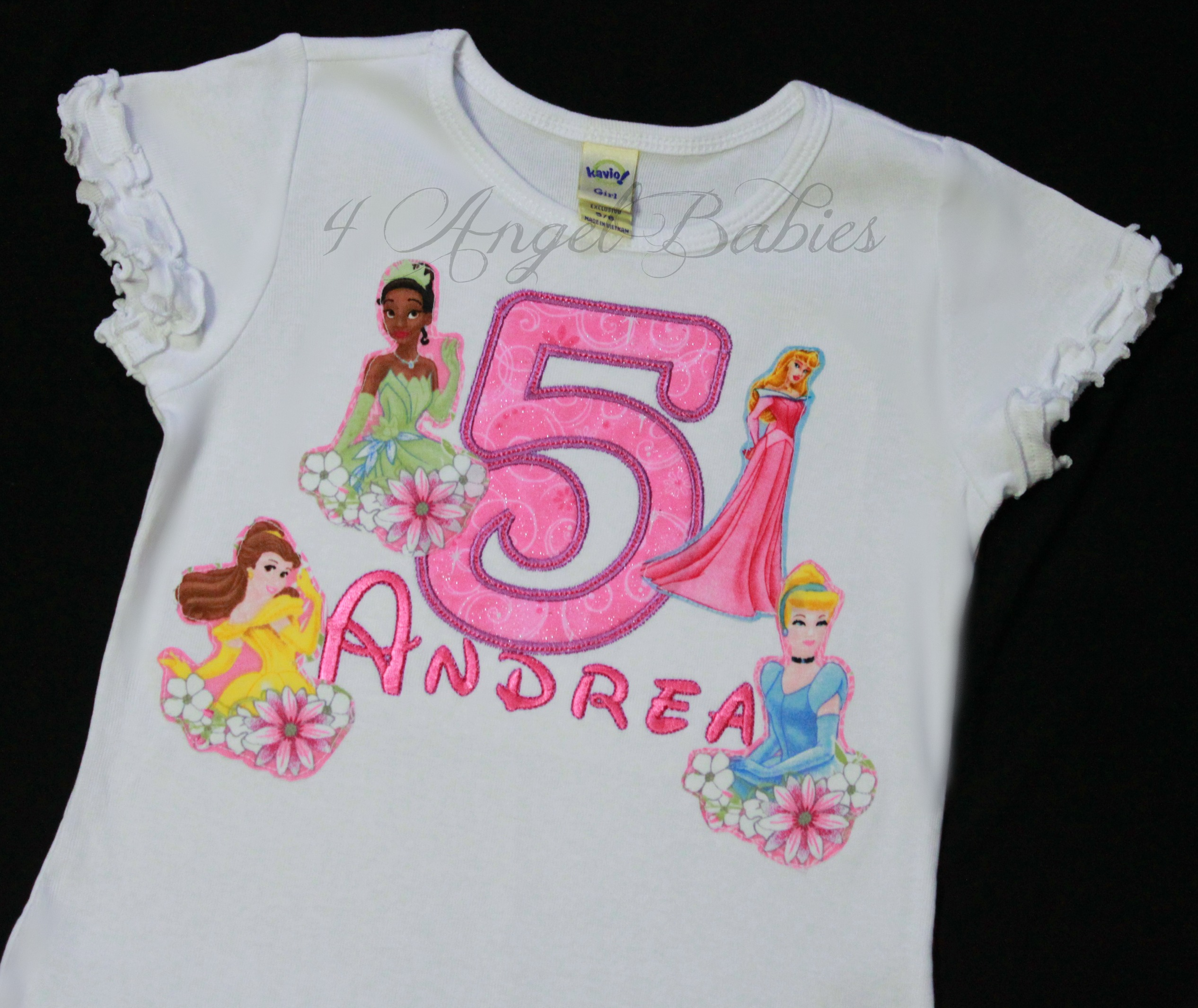 Disney 4 Princesses Girls Birthday Top Ariel Aurora Tiana Belle,