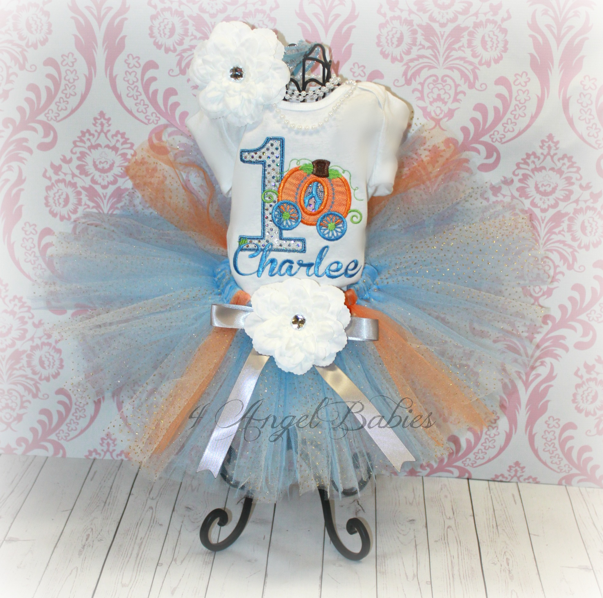 Pumpkin Carriage Blue & Orange Girls Birthday Tutu Outfit Set