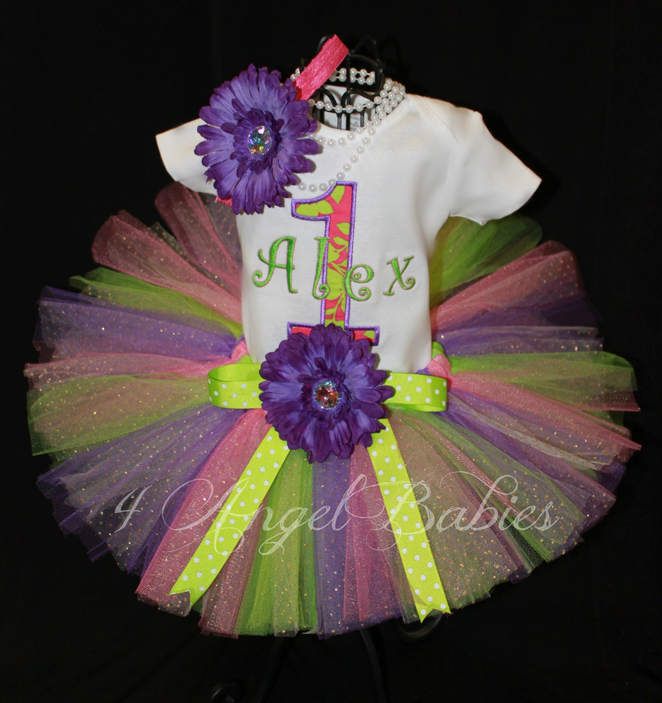 SPRING FLING Purple, Lime Green, & Pink Girls Birthday Tutu Set