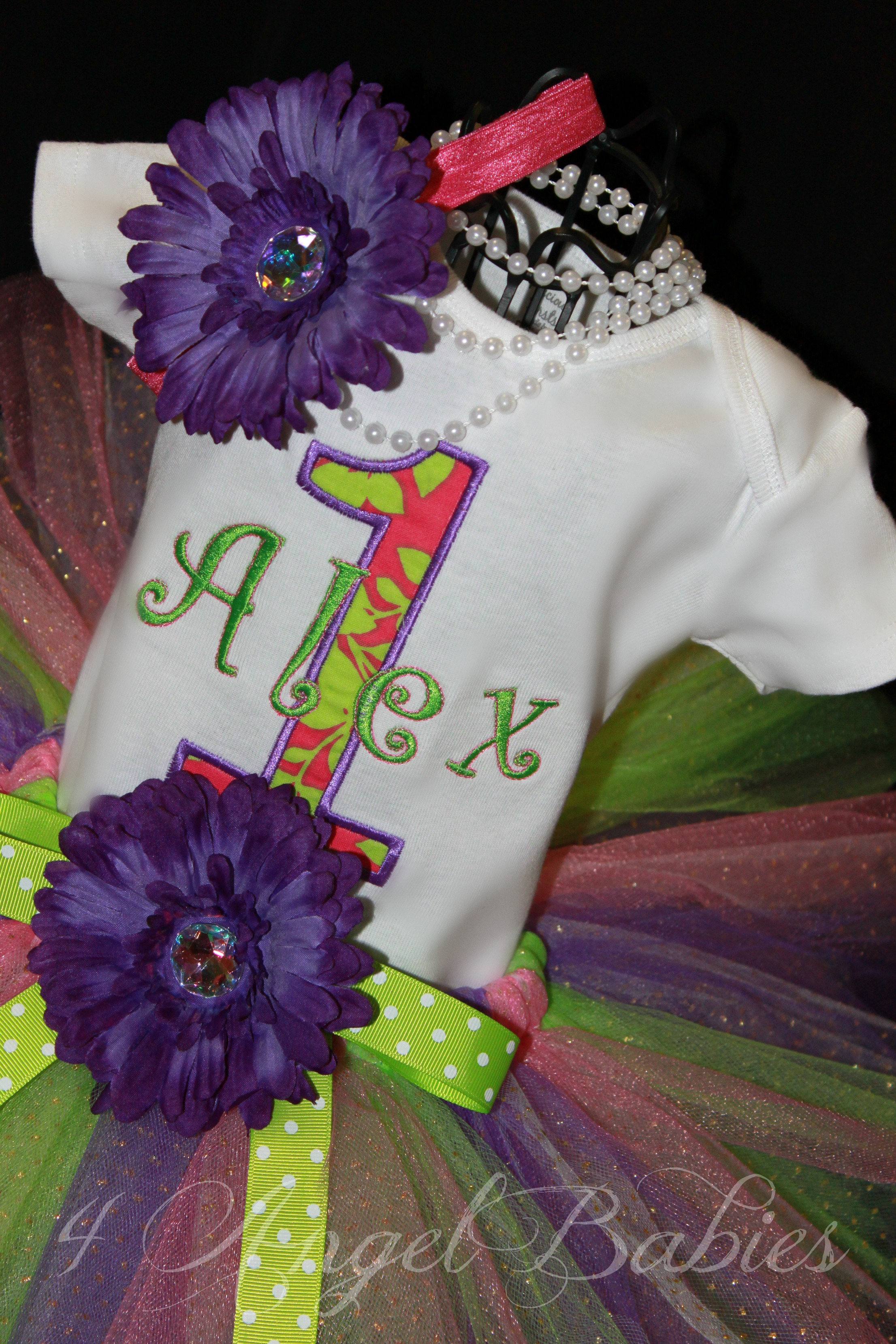 SPRING FLING Purple, Lime Green, & Pink Girls Birthday Top