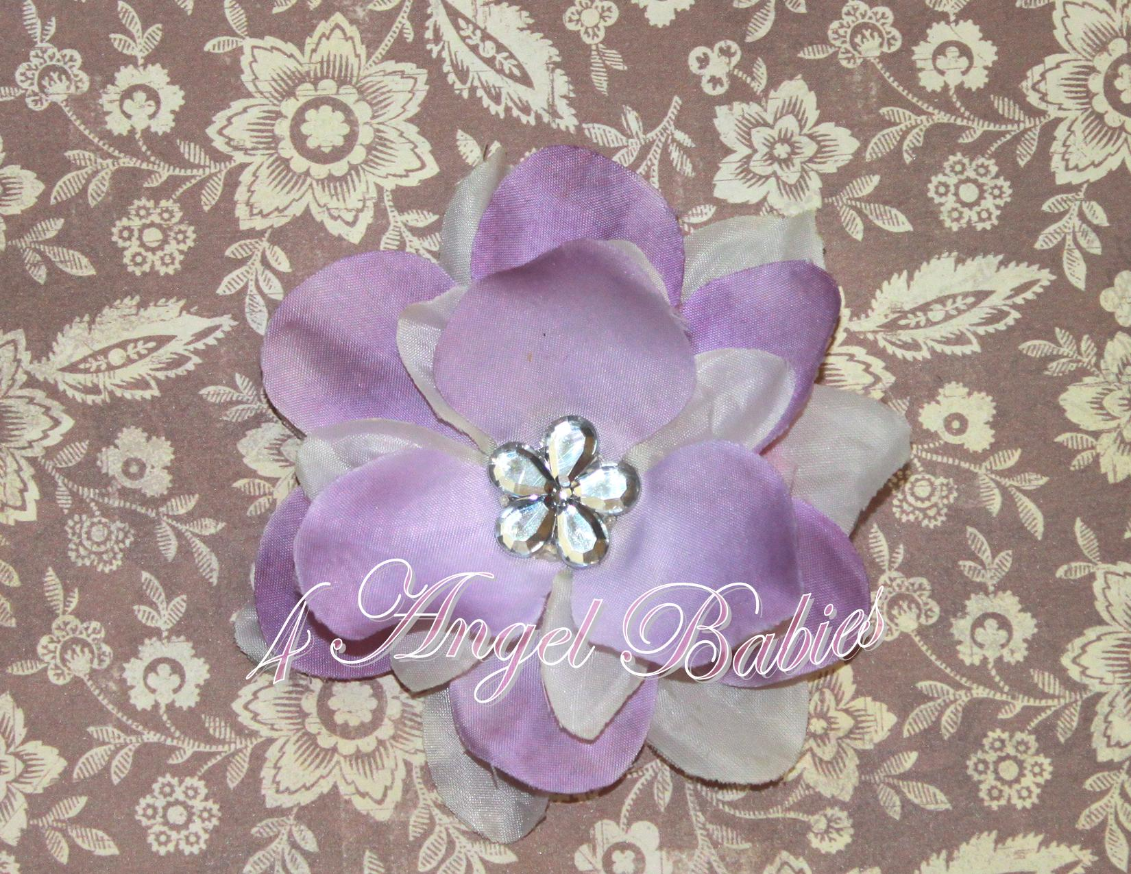 Purple & White Rhinestone Magnolia Hair Clip - Click Image to Close