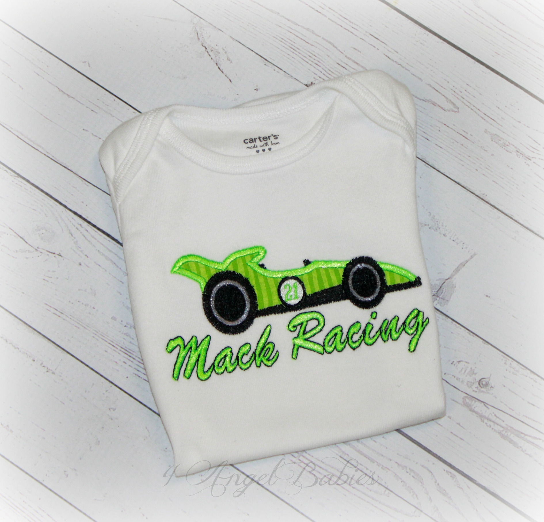 Race Car Lime Green Personalized Birthday Shirt or Bodysuit