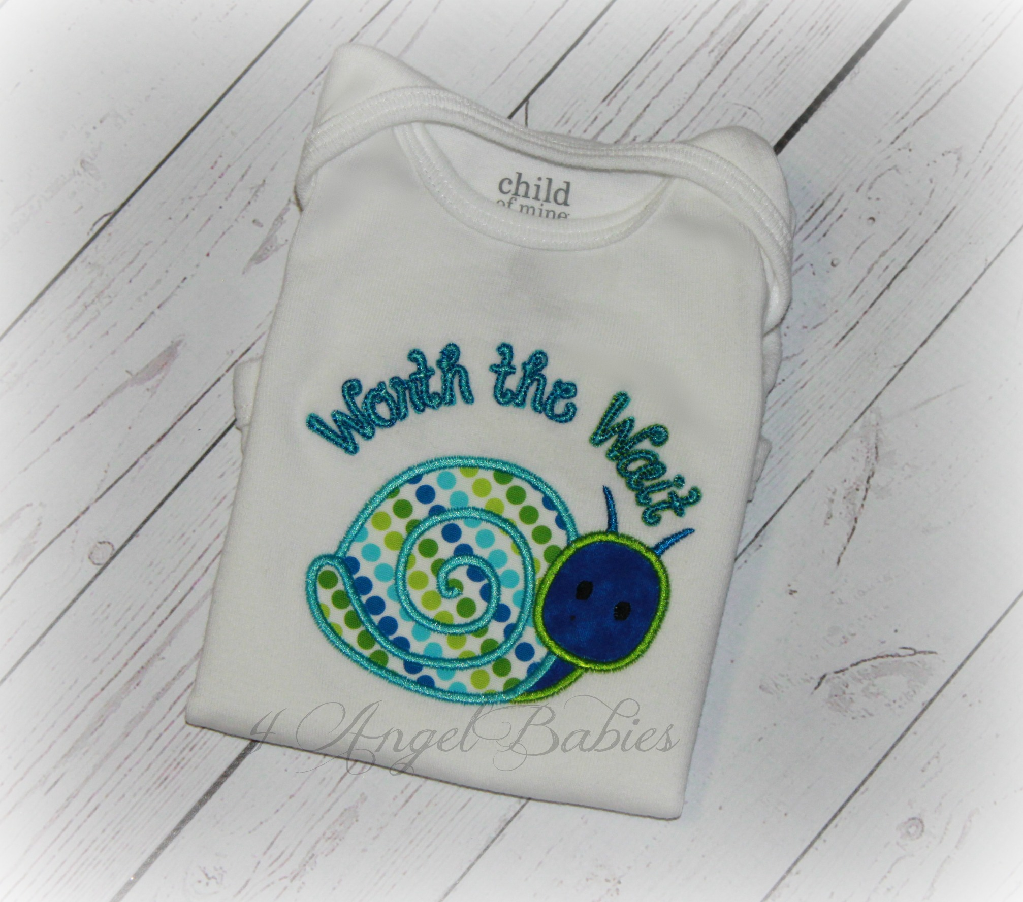 Snail Worth the Wait Blue Green Dot Personalized Baby Gift Adopt