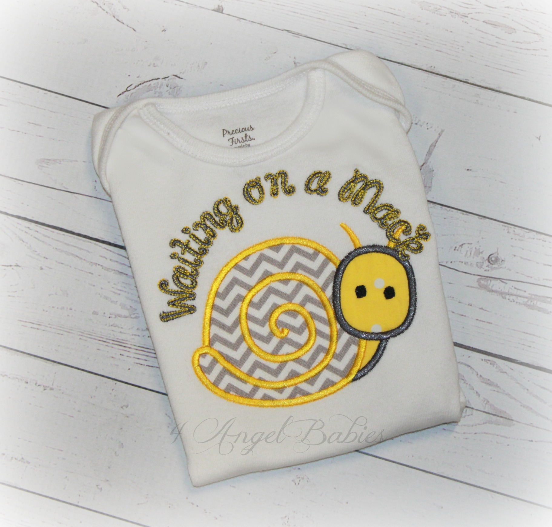 Snail Worth the Wait Yellow Gray Chevron Personalized Baby Gift