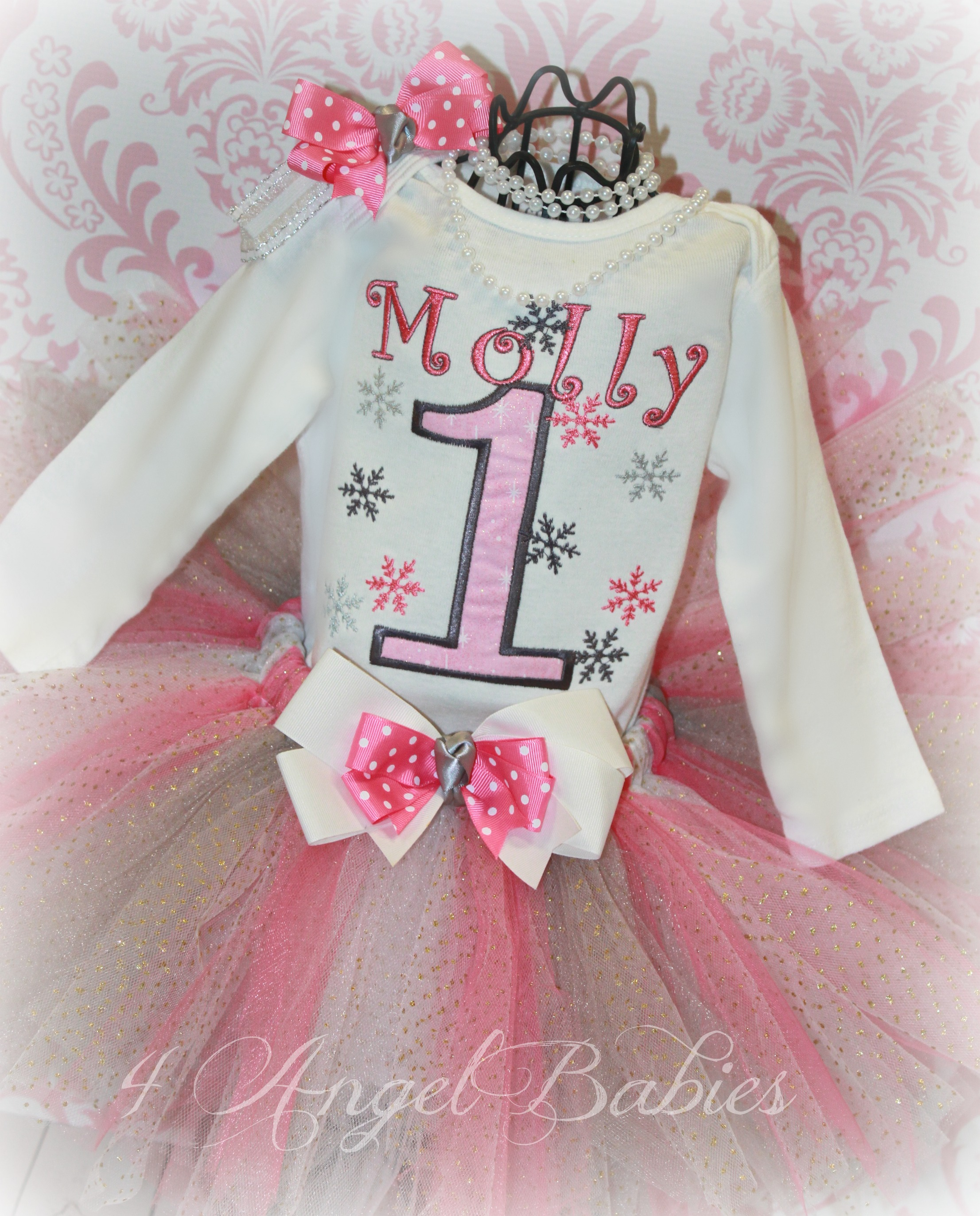 WINTER WONDERLAND Pink & Silver Snowflake Birthday Top or Shirt