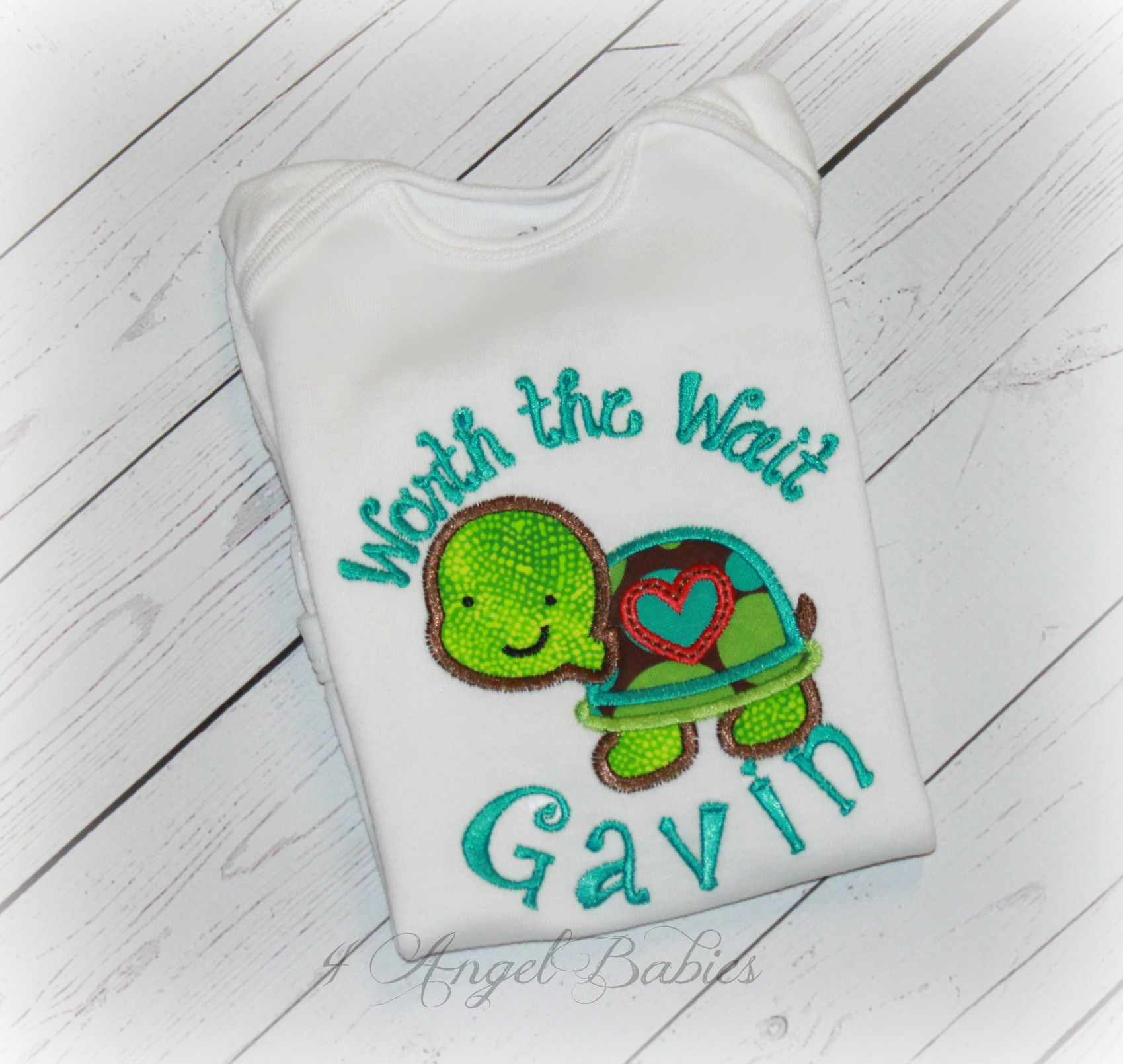 Baby Turtle Worth The Wait Gift Bodysuit Boys or Girls Green Dot