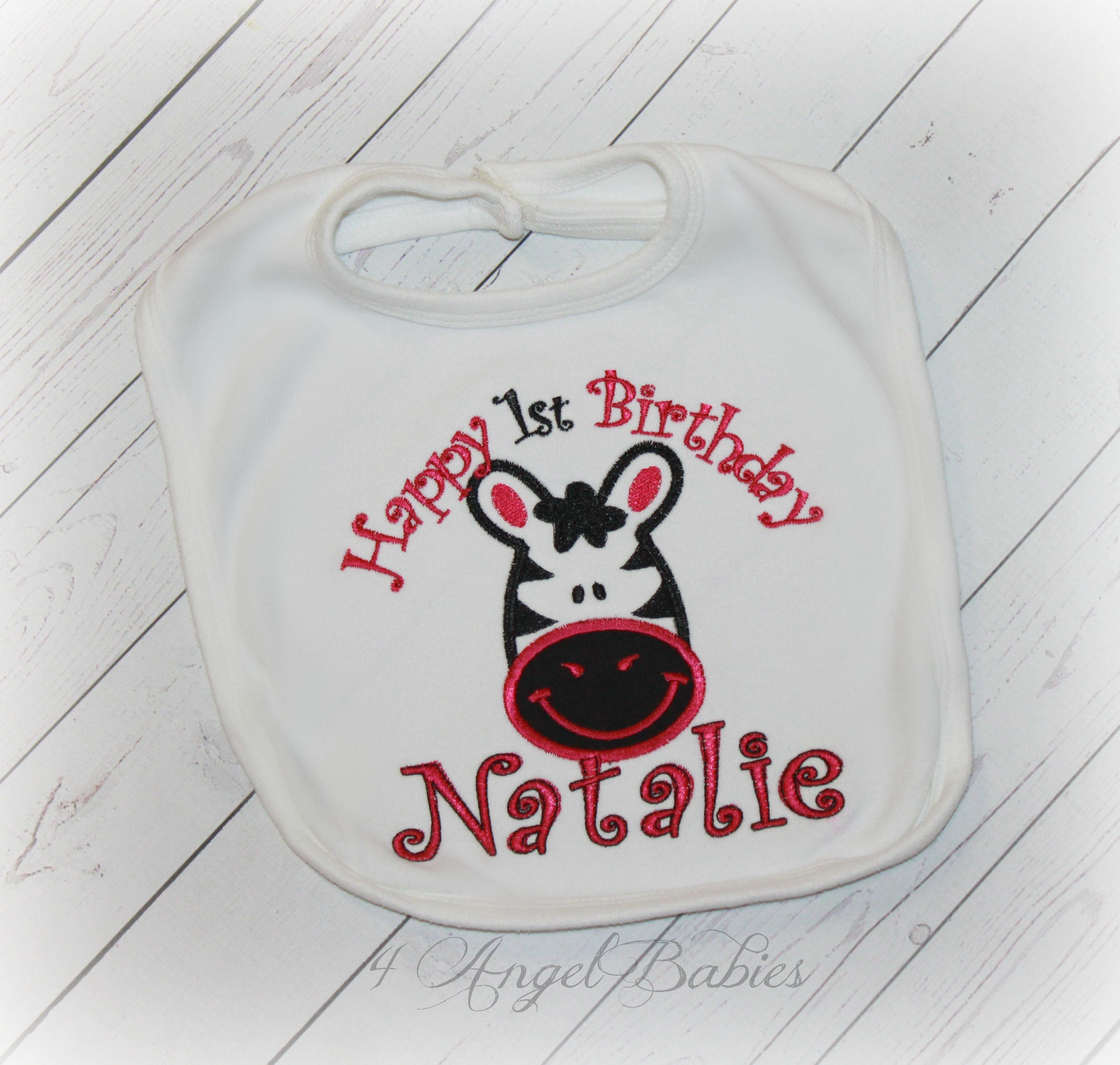 Zebra Jungle or Circus Girls Custom Birthday Bib Hot Pink Black